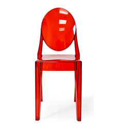 Inmod - Phantom Stacking Side Chair (Set of 2), Translucent Red - Part of the Inmod Signature Collection