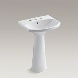 "KOHLER - KOHLER Cimarron(R) pedestal bathroom sink with 8"" widespread faucet holes - The Cimarron collection combines the best of traditional and contemporary design for a versatile look that complements a range of bathroom styles. Beveled edges and simple lines enhance the uniquely shaped basin."