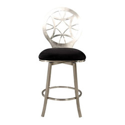 Chintaly - Chintaly Alina Laser Cut Round Back Memory Swivel Bar Stool - Brushed Nickel Mul - Shop for Stools from Hayneedle.com! Your mind may wander back to your art history class when you see this beautiful stool. The circular gothic-style design of the Chintaly Alina Laser Cut Round Back Memory Swivel Counter Stool - Brushed Nickel will be a radiant addition to your home. The exquisite brushed nickel plated laser cut back will welcome your guests. The memory return swivel automatically returns the seat to a forward-facing position when you get up. This bar stool also features a comfort foot rest and a cushioned seat upholstered in black microfiber fabric.About Chintaly ImportsBased in Farmingdale New York Chintaly Imports has been supplying the furniture industry with quality products since 1997. From its humble beginning with a small assortment of casual dining tables and chairs Chintaly Imports has grown to become a full-range supplier of curios computer desks accent pieces occasional table barstools pub sets upholstery groups and bedroom sets. This assortment of products includes many high-styled contemporary and traditionally-styled items. Chintaly Imports takes pride in the fact that many of its products offer the innovative look style and quality which are offered with other suppliers at much higher prices. Currently Chintaly Imports products appeal to a broad customer base which encompasses many single store operations along with numerous top 100 dealers. Chintaly Imports showrooms are located in High Point North Carolina and Las Vegas Nevada.