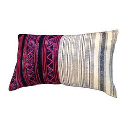 Pre-owned Pink Stitch Vintage Kantha Pillow - Vintage Kantha lumbar pillow with Indigo stripes and hot pink stitching. The pillow is backed with cream linen and has a zipper closure. Down Fill insert included.