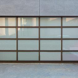 Anodized Aluminum & White Laminated Glass Garage Door - Aluminum