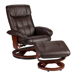 Holly & Martin - Bryce Bonded Leather Recliner and Ottoman, Cafe Brown - You work too hard - have a seat! Sink into the sweet relief and luxury of this stylish black recliner and matching ottoman. The experience of the smooth bonded leather is the epitome of living well.