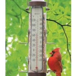ConantCustomBrass - Bird Feeder Thermometer 1 Lb Capacity Bronze Patina - Two-in-One Bird Feeder Thermometer (BFT26BP). This combination outdoor bird feeder/thermometer allows viewers to check the weather while watching birds feed. Attracts many bird types and accommodates more than 1 lb. of different blends of bird seed.