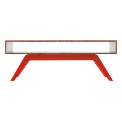 "Eastvold Furniture - Elko Coffee Table, Bamboo, Red Base - A choice of six powder-coated bases gives you plenty of ways to ask, ""Coffee or tea?"" The lines are timeless on this midcentury meets modern table. There's storage to spare in and on the sleek 45-by-17-inch bamboo top, which boasts reinforced mitered joints for seamless style."