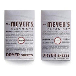 Mrs. Meyer's Dryer Sheets - Lavender - Case Of 12 - 80 Sheets - Mrs. Meyer's Clean Day Lavender Dryer Sheets reduce static, soften and add a bit of garden-freshness. These dryer sheets contain a vegetable-derived softening agent and natural essential oils on a biodegradable paper sheet. The formula is made from 97% naturally derived ingredients like lavender oil and orange peel oil. Pull sheet apart at perforation to reduce risk of blocking dryer vent and toss both unfolded sides into the dryer with your wet clothes. Tumble clothes until dry; then enjoy your fresh, garden-kissed clothes. Mrs. Meyer's Clean Day Dryer Sheets is hard working, biodegradable, and environmentally friendly.