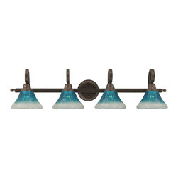 """Toltec - Toltec 154-Brz-458 Curl 4-Light Bath Bar Shown in Bronze - Toltec 154-BRZ-458 Curl 4-Light Bath Bar Shown in Bronze with 7"""" Teal Crystal Glass"""