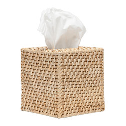 """Pigeon & Poodle - Pigeon & Poodle Denton Tissue Box Cover - The Pigeon & Poodle Denton tissue box cover's coastal vibe invites relaxation in modern interiors. A rectangular cylindrical design, this rattan accessory lends thick, woven texture. 5.5""""D x 5.5""""W x 5.75""""H; Reflecting a handmade artistry, slight variations may occur"""