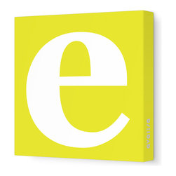 """Avalisa - Letter - Lower Case 'e' Stretched Wall Art, 28"""" x 28"""", Yellow - Spell it out loud. These lowercase letters on stretched canvas would look wonderful in a nursery touting your little one's name, but don't stop there; they could work most anywhere in the home you'd like to add some playful text to the walls. Mix and match colors for a truly fun feel or stick to one color for a more uniform look."""