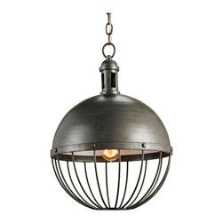 "Kathy Kuo Home - Viktor Industrial Chic Round Orb 1 Light Pendant - The Viktor Pendant design style is reminiscent of the head gear worn by Captain Nemo on the Nautilus submarine in Jules Verne's 20,000 Leagues Under the Sea. Industrial -styled products mix well in many interiors and bring to the home environment a sense of ""back-to- the-basics."" Repurposing and authenticity are essential to the industrial chic trend."