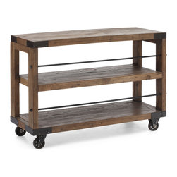 Zuo Modern - Fort Mason Shelf - Pairing solid elm timbers and industrial-quality steel, our shelf blends new and old to handsome effect. The entire shelf is on 4 antique metal wheels that do function.