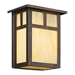 KICHLER - KICHLER Alameda Arts and Crafts/Mission Outdoor Wall Sconce X-VC3419 - The undulating tones of the honey opalescent glass panels are accentuated by the clean mission lines of this Kichler Lighting outdoor wall sconce. From the Alameda Collection, this light fixture features a unique Canyon View finish that pulls the look together.