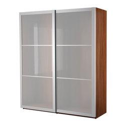 IKEA of Sweden - PAX Wardrobe with sliding doors - Wardrobe with sliding doors, medium brown, Lyngdal glass