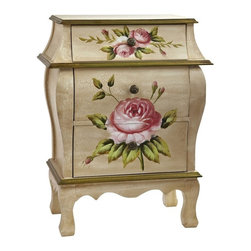 "Antique Night Stand with Floral Art - An ideal accent piece to a bedroom or anywhere else a pretty night stand fits the bill, this night stand has become one of our most requested items. Standing 26.5"" high and featuring three drawers, it displays a classic floral pattern with an old-fashioned antique design. Quite frankly, to see it is to fall in love with it. it also makes a thoughtful gift for someone who appreciates beautiful things. Height= 26.5 In. x Width= 20.5 In. x Depth= 12 In."
