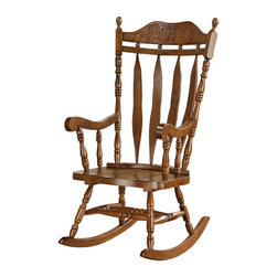 Monarch Specialties - Monarch Specialties Country Arrowback Rocking Chair in Walnut, Dark Wood - Whether you are a new mom looking to soothe a baby or just want place to sit and relax, this country styled wooden rocking chair will be a lovely addition to your home. This arrow backrocker has a curved shaped top with detailed floral carvings and is finished in dark walnut. Soft curved arms frame the seat, with turned spindle supports. Turned legs above the wood rocker base complete this charming country style look and add the perfect touch of warm tradition. What's included: Rocking Chair (1).