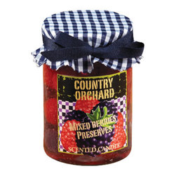 "Deco Glow - Country Orchard ""Mixed Berry Preserves"" Candle, Set of 4 Candles - This  country  mixed  berrry  candle  will  make  the  kitchen  smell  like  a  pie  is  about  to  come  out  of  the  oven.  Berry  scented  with  the  look  of  a  fresh  jar  of  country  preserves,  this  jar  candle  is  the  next  best  thing  to  grandma's  mixed  fruit  jam.  A  unique  addition  to  our  collection  of  rustic  kitchen  decor  and  gifts."