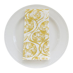 Peony Napkin Set, Chartreuse - This 100% organic linen napkin set is uniquely hand designed, printed and sewn to bring joy and color to your table.