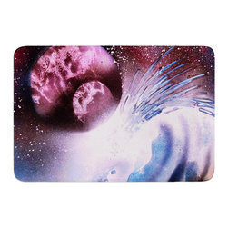 """KESS InHouse - Infinite Spray Art """"Space Tube"""" Pink Purple Memory Foam Bath Mat (17"""" x 24"""") - These super absorbent bath mats will add comfort and style to your bathroom. These memory foam mats will feel like you are in a spa every time you step out of the shower. Available in two sizes, 17"""" x 24"""" and 24"""" x 36"""", with a .5"""" thickness and non skid backing, these will fit every style of bathroom. Add comfort like never before in front of your vanity, sink, bathtub, shower or even laundry room. Machine wash cold, gentle cycle, tumble dry low or lay flat to dry. Printed on single side."""