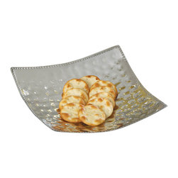 Malibu Creations - Malibu Creations Hammered Sheen Large Dish - You can make a big, bold statement of your impeccable style by displaying this contemporary dish, but know that does more than just look good! Beaded trim surrounds this hammered, high-polish, food-safe aluminum dish, and the gently curved square shape rises at each corner to cradle whatever you put on it. Use it to serve appetizers or snacks to your guests, place a handful of sweet treats nearby the dinner table, or use it to display a pretty grouping of decorative baubles. Even empty, this modern metallic dish is deliciously delightful.
