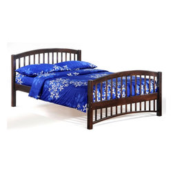 Night & Day Furniture - Molasses Full Bed in Chocolate - Bed includes head/foot, rails, slats. 100% Malaysian Rubberwood construction. Warranty: 5 years. Chocolate finish. 57 in. W x 80.6 in. D x 38.8 in. H (42.2 lbs.)Molasses. A good name for: The speed at which our kids get themselves into bed. Also works for: The speed at which our kids get themselves out of bed. And: That sweet, droopy feeling we get when sleep is pulling us down down down. About as good a name for a sleepy-time bed as we could think of.Take care of your kids' needs for beds, bunks and storage with our Zest Bedroom Collection for Night and Day. Smart quality at extraordinary value. We have gone to great lengths to design and engineer this complete line to keep your cost down and your pleasure up.