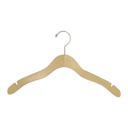 15.5 Wood Notch Shirt/Dress Hanger with Shiny Chrome Hooks - Box of 100 hangers.