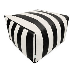 Majestic Home - Outdoor Black Vertical Stripe Large Ottoman - Add a little character to your living room or patio with the Majestic Home Goods Large Ottoman. This Ottoman is the perfect accessory to add comfort and style to any room while functioning as a decorative foot stool, pouf, or coffee table. Woven from outdoor treated polyester, these ottomans have up to 1000 hours of U.V. protection and are able to withstand all of natures elements. The beanbag inserts are eco-friendly by using up to 50% recycled polystyrene beads, and the removable zippered slipcovers are conveniently machine-washable.