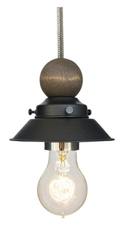 """Hammers & Heels - Farmhouse 4 & 3/4"""" Cone Shade Pendant Light Wood & Bushed Nickel - The Farmhouse Collection is petite with a punch of style these 4 3/4"""" metal cone shade pendant lights add a vintage feel to any space."""