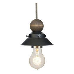 "Hammers & Heels - Farmhouse 4 & 3/4"" Cone Shade Pendant Light Wood & Bushed Nickel - The Farmhouse Collection is petite with a punch of style these 4 3/4"" metal cone shade pendant lights add a vintage feel to any space."
