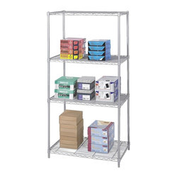 Safco - 36 in. Industrial Wire Shelving Starter Unit in Metallic Gray - Six feet tall and three feet wide, this shelving unit works well in many environments. Four posts keep things sturdy while the wire shelves provide a good deal of space for holding quite a bit of weight. Steel construction with metallic gray powder coat finish. Four open wire shelves. Four posts. Snap-together clips. Prevents dust accumulation. Powder coated finish. Material Thickness: 10 ga. (shelf surface), 3 ga. (frame), 16 ga. (post), 6 ga. (wave pattern). Shelf adjusts in 1 in. increments. 1000 lbs. evenly distributed shelf carrying capacity. 2500 lbs. evenly distributed overall carrying capacity. GREENGUARD Certified. Made from steel. Available in additional finish. 36 in. W x 24 in. D x 72 in. H (61 lbs.). Assembly InstructionGet wired! With Wire Shelving you're sure to get the storage space you need. These shelves are designed to get your office organized and keep it that way. Easily store office supplies, break room supplies, paper, marketing materials and other supplies so they are easy to find and incur no damage. Great for your supply room, storage area, mail room, warehouse, storage closet, garage area or even a classroom, assembly area or production area. Get storage where you need it, and always be able to find what you're looking for!