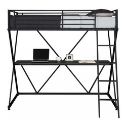 Dorel Home Products - Metal Loft Bed - NOTE: ivgStores DOES NOT offer assembly on loft beds or bunk beds. Includes full desk. Modern design. All-in-one unit. Comfortable sleeping. Front ladder and guard rails for upper twin bunk bed. Perfect for smaller space. Accommodates twin mattress. Weight capacity: 150 lbs.. Warranty: One year. Made from metal. 77 in. L x 41.5 in. W x 72.2 in. H (137.8 lbs.). Assembly Instructions. Bunk Bed Warning Please read before purchase.This bunk bed is the ultimate space savers for any child̢s room. It creates a sense of privacy, giving kids a quiet spot to study.