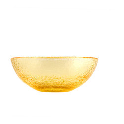 Fire & Light - Recycled Glass Salad Bowl, Citrus Yellow - This iridescent dinnerware is so beautiful, you would never guess that this salad bowl is actually made from recycled glass! The unique play of light that filters through the color of these wonderful bowl will enchant you and offer a glistening backdrop for your favorite mealas well as dips, nuts, veggies or cereal. Made with over 91% recycled glass.