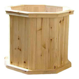 """Master Garden Products - Villa Octagon Wood Planter, 18"""" - We use northern white cedar to build our wooden octagon planters with elegant carved ogee pattern around the top and bottom cap. Glued tongue and groove wall panels are constructed to ensure durability and beauty. Finished with outdoor sealer  to protect it from harsh outdoor elements."""