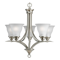 Progress Lighting - Progress Lighting P4328-09Ebwb Five-Light Chandelier With Etched Glass Shades - Five-light chandelier with etched glass, Brushed Nickel finish and refreshing, romantic forms.