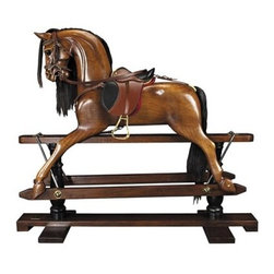 Authentic Models - Authentic Models Museum Victorian Rocking Horse - Younger sons born into nobility or the gentry were often sent to serve at the Royal Court as pages of honor. Part of their education was learning tournament jousting. The master-at-arms used wooden horses mounted on swings to teach skills with sword and lance. This wooden horse evolved over time into the classic rocking horse. No upper class children's playroom was without one. Some were mounted on oval wood rockers others on a 'safety' stand where steel swings allowed for greater movement on a stationary base. Our iconic rocking horse is a full-sized reproduction of originals dating back to the 19th C. Hand carved in top quality mahogany. Hand made saddle and tack of real bridle leather. The expert skills of wood carvers cabinetmakers and saddlers are evident. Hand finished in a warm and glowing French-style varnish slightly distressed to make it look somewhat aged. A timeless treasure and a dream-toy for both boys and girls. Imagine its value in 50 or 100 years! Authentic Models was created more than 40 years ago in Amsterdam the Netherlands. Authentic Models' expertise and interests go back many centuries. Their collection of furniture artifacts and accessories is inspired by the age of exploration maritime history cartography and more… A never-ending quest for unique objects and designs coupled with their goal to share their stories with a dedicated audience. Now in the 21st C. Authentic Models is eminently placed to offer its unique collection to the world at large.Challenging the mind since 1968. Authentic Models' searches the world over to ensure authenticity. To appeal to the curious and discerning. A focus on both eclectic and aesthetic Authentic Models' products bring history and nostalgia to life. Inseparable from their roots all come with a story.To surprise and impress. Value and experience brought to life in a unique collection. Offering individual choice fitting both classic and cont