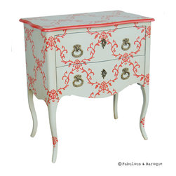 Fabulous & Baroque - Seigneur - White & Persimmon - This elegant two drawer Louis XV Seigneur night stand has the power to transform any room with its stunning mix of pink on white design. Straight from the era of Louis XV, the Seigneur offers two comfortable sized drawers that are perfectly camouflaged behind the fascinating and intricate pink lacquer art work. The eye-catching, antiqued brass pulls offer a touch of elegance to this classical piece that will not allow you to look away from its beauty. Perhaps your decorative taste are more along the blue color spectrum…..we offer you the option of changing the pink to any color that suits your needs!