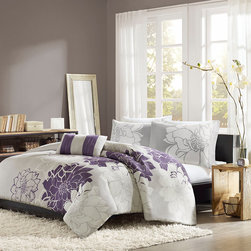 Home Essence - Home Essence Chloe 4 Piece Duvet Cover Set - Chloe is the perfect solution to for an updated, modern print look. This duvet cover collection features an overscaled floral print design printed on cotton fabric for a super soft hand feel. The reverse is a soft white color that coordinates back to the grey, white and purple from the face. duvet & Sham: 100% cotton 200TC sateen printed on face, 180TC cross weavebacking, 270g/m2 poly fill; Pillow: 180TC cotton cross weave cover and poly filling.