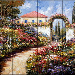 The Tile Mural Store (USA) - Tile Mural - Garden Walk - Kitchen Backsplash Ideas - This beautiful artwork by John Zaccheo has been digitally reproduced for tiles and depicts a colorful garden.  This garden tile mural would be perfect as part of your kitchen backsplash tile project or your tub and shower surround bathroom tile project. Garden images on tiles add a unique element to your tiling project and are a great kitchen backsplash idea. Use a garden scene tile mural for a wall tile project in any room in your home where you want to add interesting wall tile.