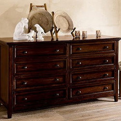 """Hudson Extra-Wide Dresser, Mahogany stain - Paneled and dovetailed drawers, ornamental molding, metal pulls, and generous lines recall the artistry of Craftsman-style design in our Hudson Extra-Wide Dresser. The dresser has eight drawers, including two with velvet-lined compartments to protect accessories. 66"""" wide x 24"""" deep x 36.5"""" high Expertly framed in solid mahogany. Finished by hand on all sides using an exclusive multistep process to achieve a rich mahogany stain, then sealed with a protective lacquer. Wood swatches, below, are available for $25 each. We will provide a merchandise refund for wood swatches if they're returned within 30 days. View and compare with other collections at {{link path='pages/popups/bedroom_DOC.html' class='popup' width='720' height='800'}}Bedroom Furniture Facts{{/link}}. Customize with any of our signature {{link path='/shop/accessories-decor/hardware/hardware-knobs/'}}PB pulls & knobs{{/link}}. View our {{link path='pages/popups/fb-bedroom.html' class='popup' width='480' height='300'}}Furniture Brochure{{/link}}."""
