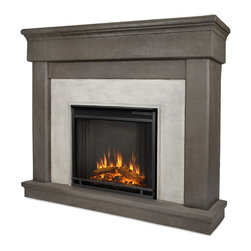 Cascade Dune Stone Electric Firebox & Mantel - The Cascade Mantel features an elegant, classic design and authentic stone texture, creating a beautiful built-in look to compliment any room. Real Flames Cast Mantels are crafted from a lightweight, fiber-enforced concrete and backed with an internal steel frame for an enduring presence. For safety, this unit must be anchored to a wall using the included hardware. The Vivid Flame Electric Firebox plugs into any standard outlet for convenient set up. The features include remote control, programmable thermostat, timer function, brightness settings and ultra bright Vivid Flame LED technology. Available in Dune Stone finish.