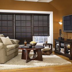 "Bali® Northern Heights Collection: 2"" Wood Blinds - Northern Heights represent Bali's premier hardwood blind.  2"" slats provide greater view-thru and a more elegant appearance.  Select North American hardwood makes for slats that are both stronger and lighter, so your blinds will be easy to lift and operate.  Customize your blind with a premium valance upgrade, the ""NoHoles"" routeless option for increased privacy and light control, or with cloth tapes for a stylish decorator finish."