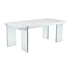 """Diamond Sofa - Glass Leg 75"""" Dining Table with White Lacquer Top - This table has an undeniable appeal from top to bottom. It offers the block table top design accentuated with the modern look of the clear, tempered glass legs."""