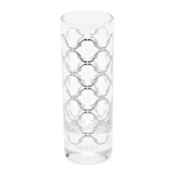 Desdemona Shot Glass, Set of 6 - A regal pattern emerges on these handmade Desdemona shot glasses. The smooth, silver overlay is expertly applied by hand on each glass. Holds 2 oz.Handmade in Italy.