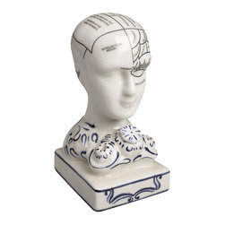"Inviting Home - Phrenology Inkwell - Phrenology head inkwell 3-3/8""x 3""x 5-3/4""H Phrenology head inkwell was at hand as prescriptions were still written with a stylus and a nib. Phrenology inkwell is an interesting oddity fascinating in its own way. Our porcelain phrenology inkwell is an exact replica of an antique phrenology head inkwell found at auction years ago Phrenology head is a tool of trade for the Victorian doctor's desk. This head made of crackled porcelain like Staffordshire china. Phrenology head will make a highly interesting and challenging gift as well as valuable home decor. Victorian science was fascinated with the human brain. Phrenology was one of the fanciful results of highly creative research. Moods data storage creativity and sensitivity were among the 'senses' that were neatly catalogued and given a defined location. A doctor's desk was not complete without a model of a head depicting the areas associated with each of the senses."