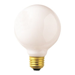 Bulbrite - Globe Medium Base Dimmable Light Bulbs in Whi - Choose Wattage: 25wOne pack of 24 Bulbs. G25 incandescent type bulb. E26 base bulb. EISA compliant. Voltage: 120 V. Average hours: 2500. Color rendering index: 100. Beam spread: 360 degree. Color temperature: 2700K. Ideal for use in vanity, pendants and down lights. 25 watt lumens: 180. 40 watt lumens: 360. 60 watt lumens: 630. 100 watt lumens: 1150. 3.13 in. Dia. x 4.38 in. H