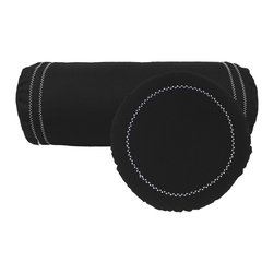 Store51 LLC - Black Bolster Round Pillows White Stitching Accent Cushions - FEATURES: