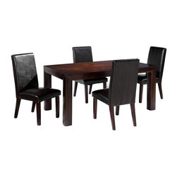 Overnice in Wood Glass Top Leather Modern Dining Set - Birch wooden dining table with straight legs and four leather chairs. It features 2 wood framed glass doors and 2 storage drawers. Birch veneers in a satin cinnamon finish. Matte chrome hardware. There 2 removable wood shelves behind doors.