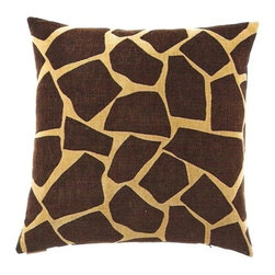 """Canaan - 24"""" x 24"""" Giraffe Chenille Brown Animal Print Throw Pillow with Insert and Cover - Giraffe chenille brown animal print pattern throw pillow with a feather/down insert and zippered removable cover. These pillows feature a zippered removable 24"""" x 24"""" cover with a feather/down insert. Measures 24"""" x 24"""". These are custom made in the U.S.A and take 4-6 weeks lead time for production."""