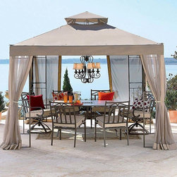 "Outdoor Oasis 2010 Gazebo Replacement - Your backyard doesn't have to be dull or expensive. This canopy is affordable, and you can add more elements to it like a hanging light, to increase the ""wow"" factor."