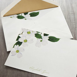 Caspari - Caspari 50 Blossom Cards/Personalized Envelopes - A pretty spray of white flowers spills around of the corner of these cards personalized with your name. Made in Switzerland of domestic materials. For personalization on cards, specify name (up to 39 characters/spaces). For envelopes, specify two-line....