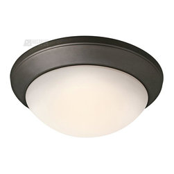 Kichler Lighting - Kichler Lighting Energy Efficient Transitional Flush Mount Ceiling Light X-LFZO1 - An elegant shape is complimented by clean contemporary curves on this Kichler Lighting flush mount ceiling. This energy efficient light fixture features a warm Olde Bronze finish and soft toned satin etched cased opal glass shade that completes the look.