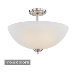 Z-Lite - Z-lite Minimalist 3-light Semi-flush Mount Pendant - With large, bold bronze detailing and a warm glowing matte opal shade, this semi-flush is a testament to modern simplicity. This pendant holds three 100-watt light bulbs.